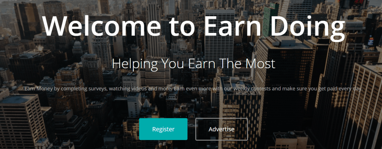 Earn_Doing_review_homepage
