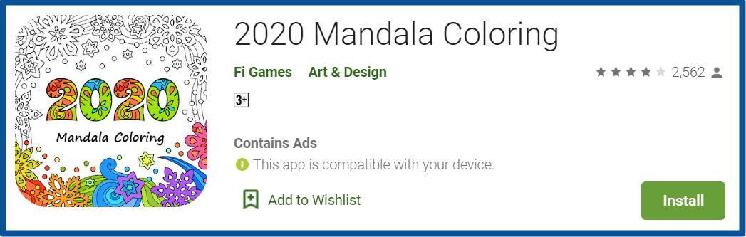 2020 Mandala Coloring App homepage
