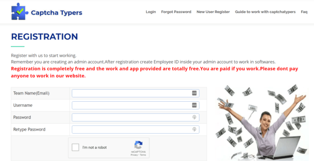 captcha typers registration