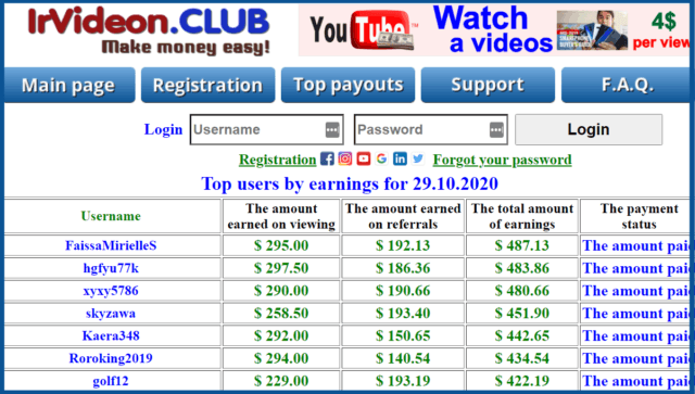 review-irvideon-club-top payouts-