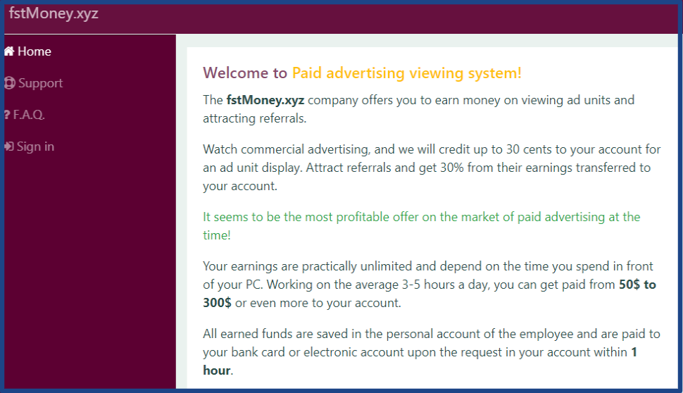 The-site-of-paid-watching-ads-fstmoney-xyz-Home