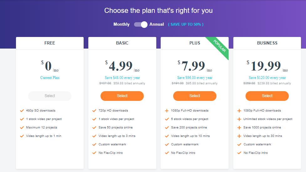 Flexclip review-pricing