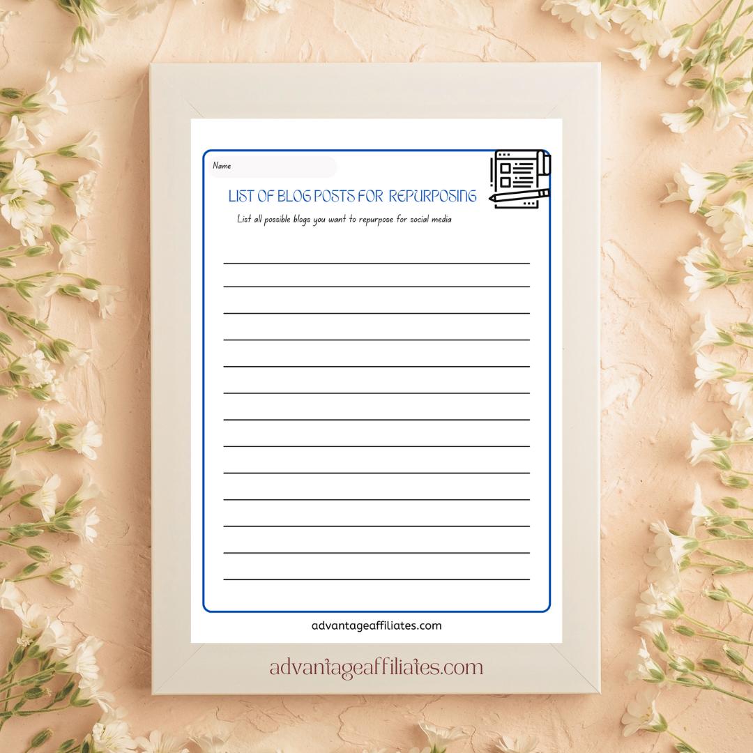 30 page Blog Repurposing Planner